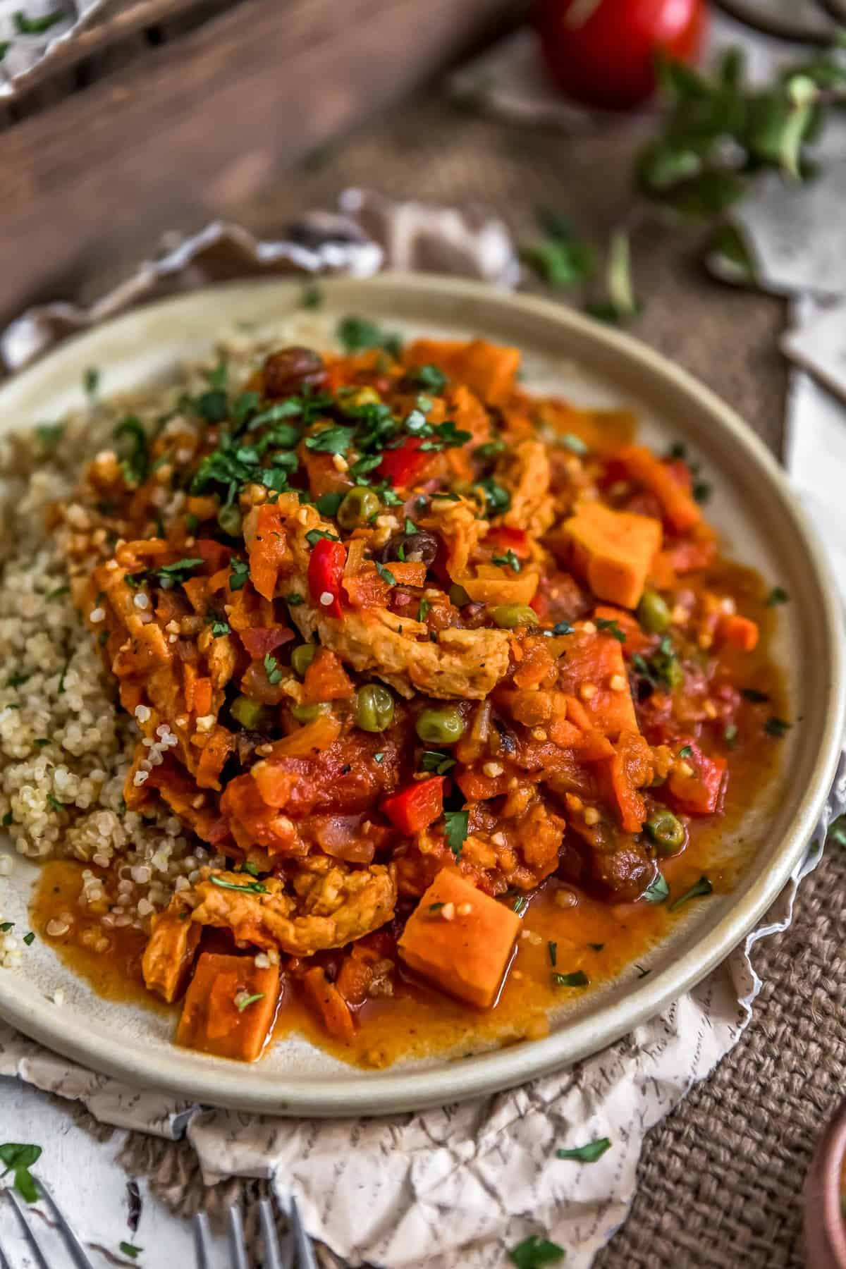 Plated Moroccan Soy Curl Stew