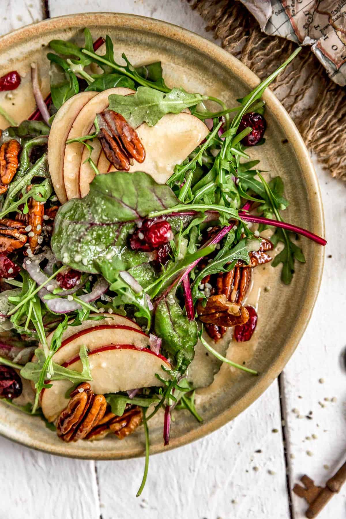 Beet Greens and Apple Salad with Maple Mustard Vinaigrette