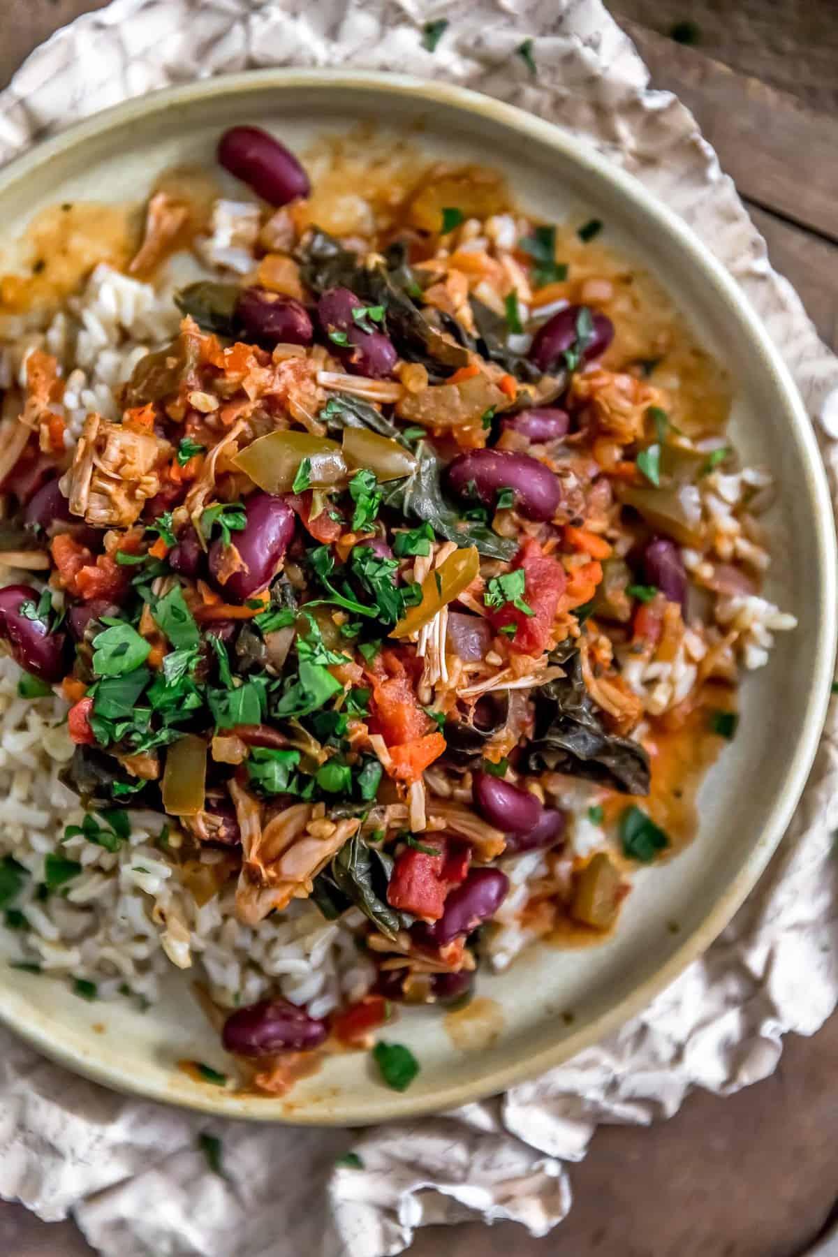 Plate of Cajun Jackfruit and Collard Greens