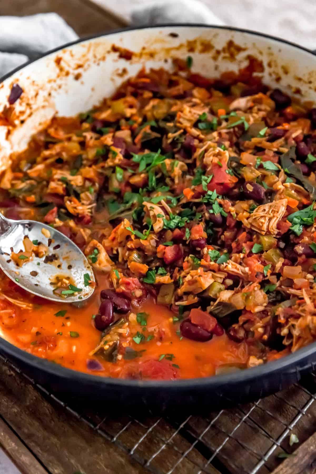 Dish of Cajun Jackfruit and Collard Greens