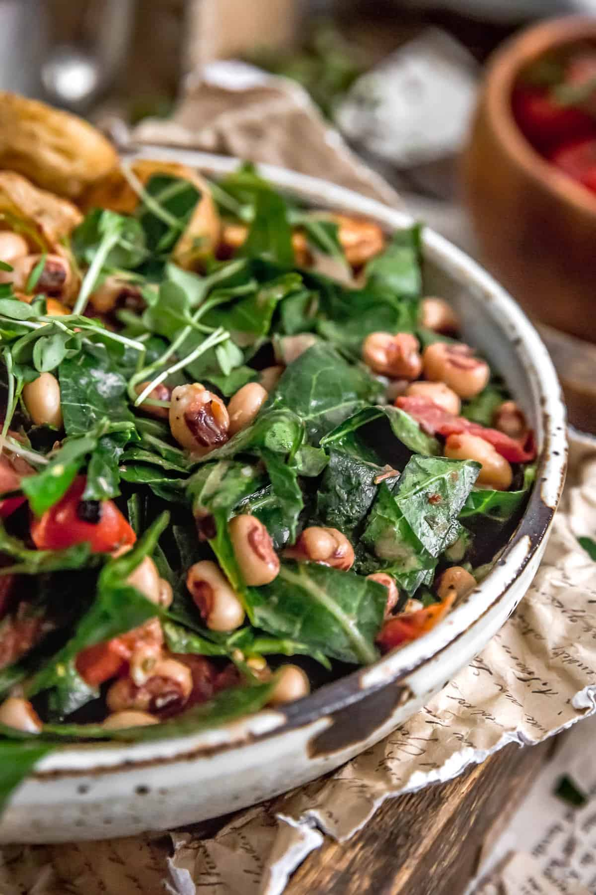 Close up of Collard Green and Black-Eyed Pea Salad