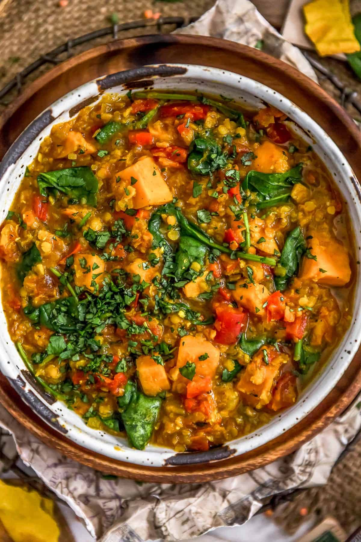 Bowl of Curried Red Lentil and Sweet Potato Stew