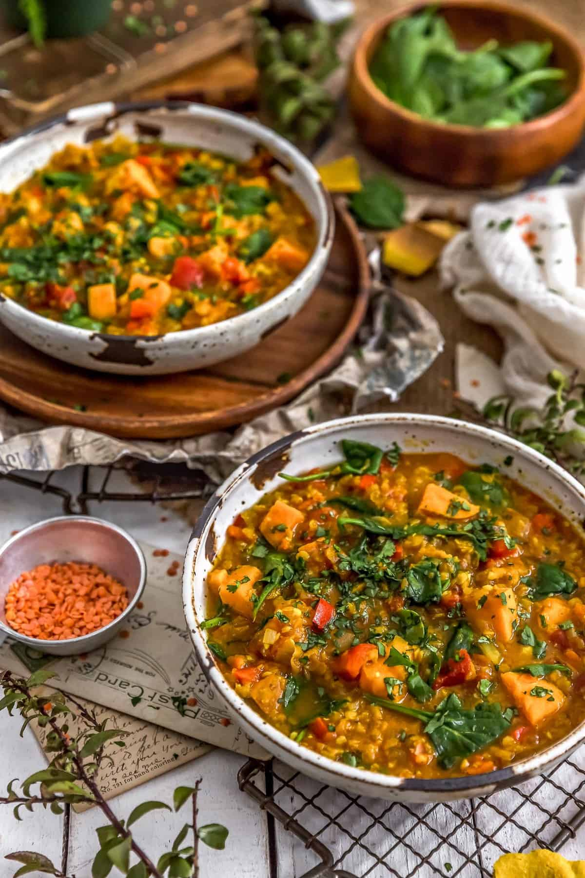 Bowls of Curried Red Lentil and Sweet Potato Stew