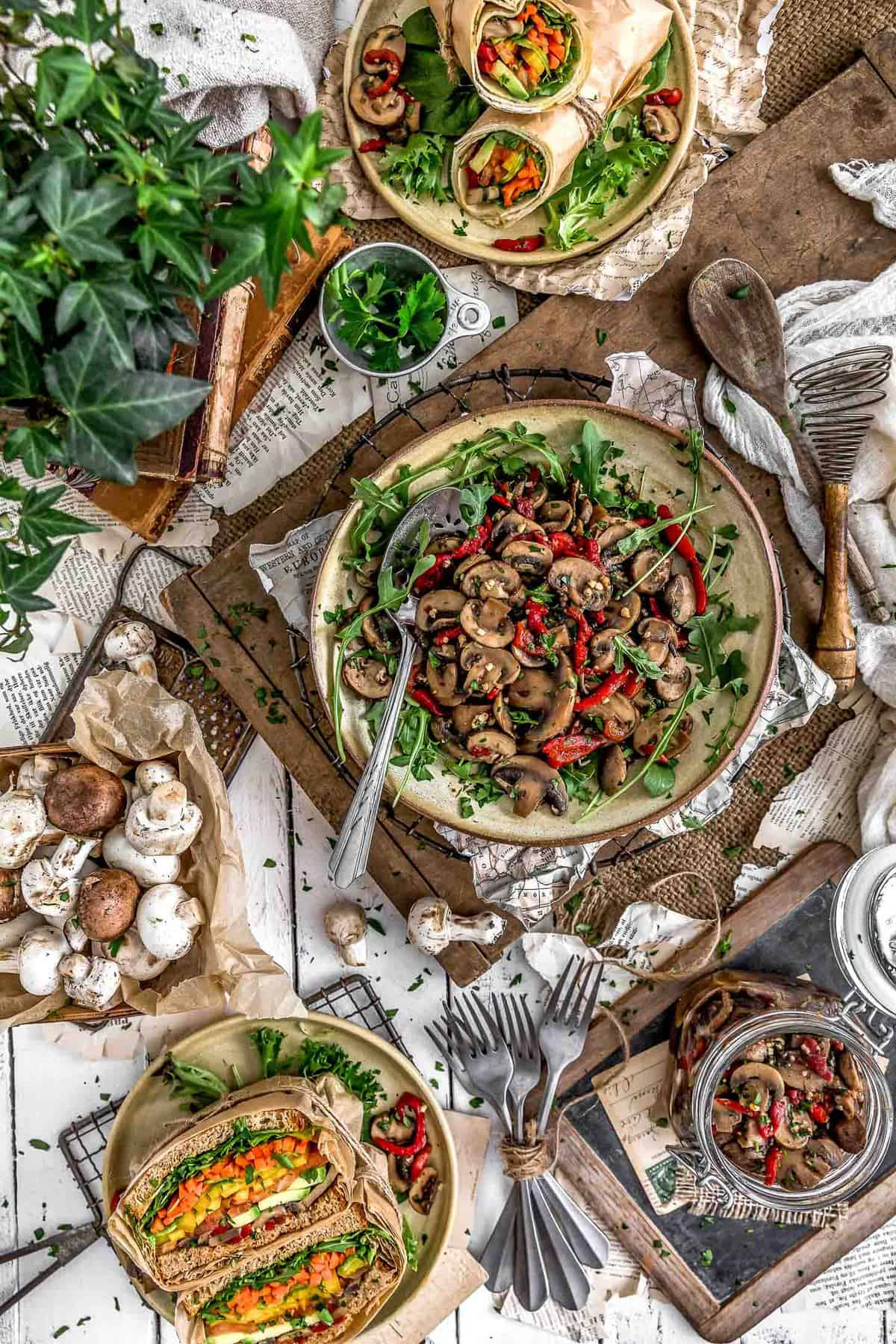 Tablescape of Deli-Style Marinated Mushroom Salad