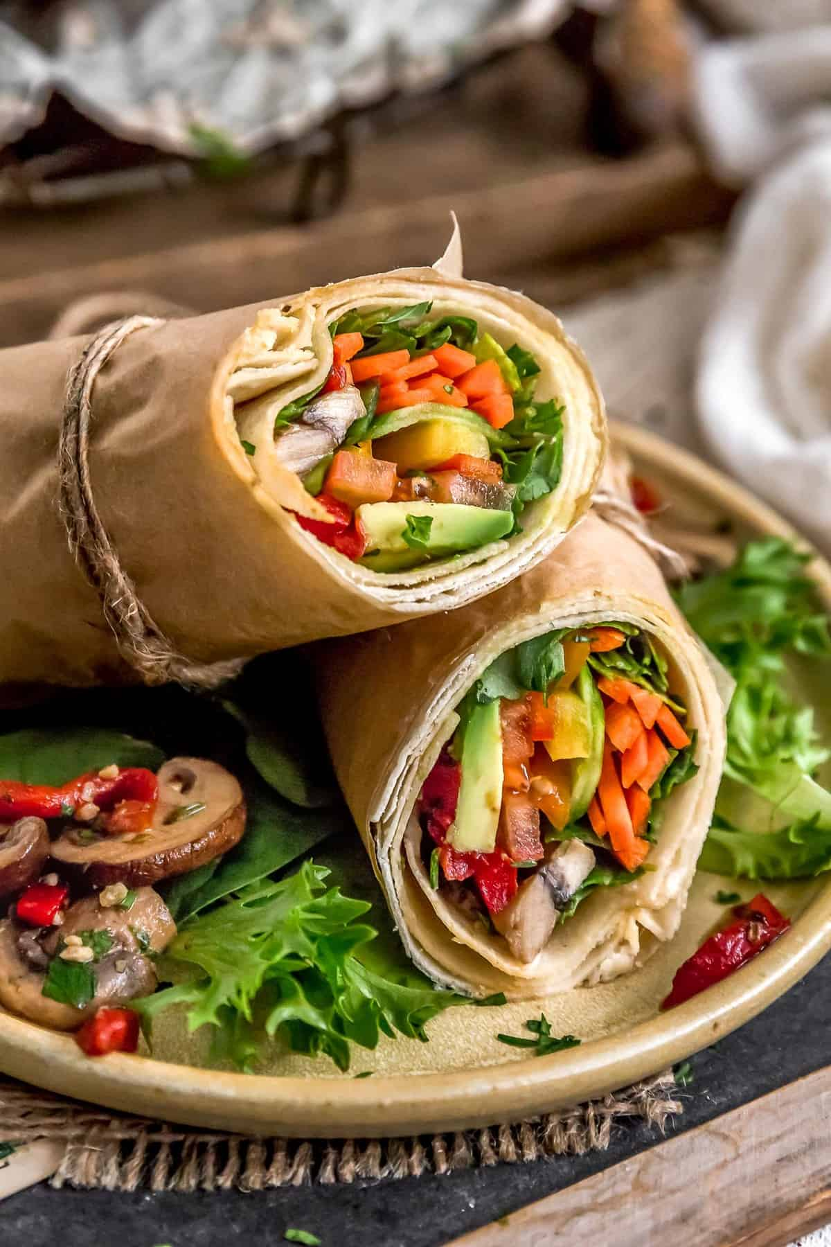 Deli-Style Marinated Mushroom Salad in a wrap