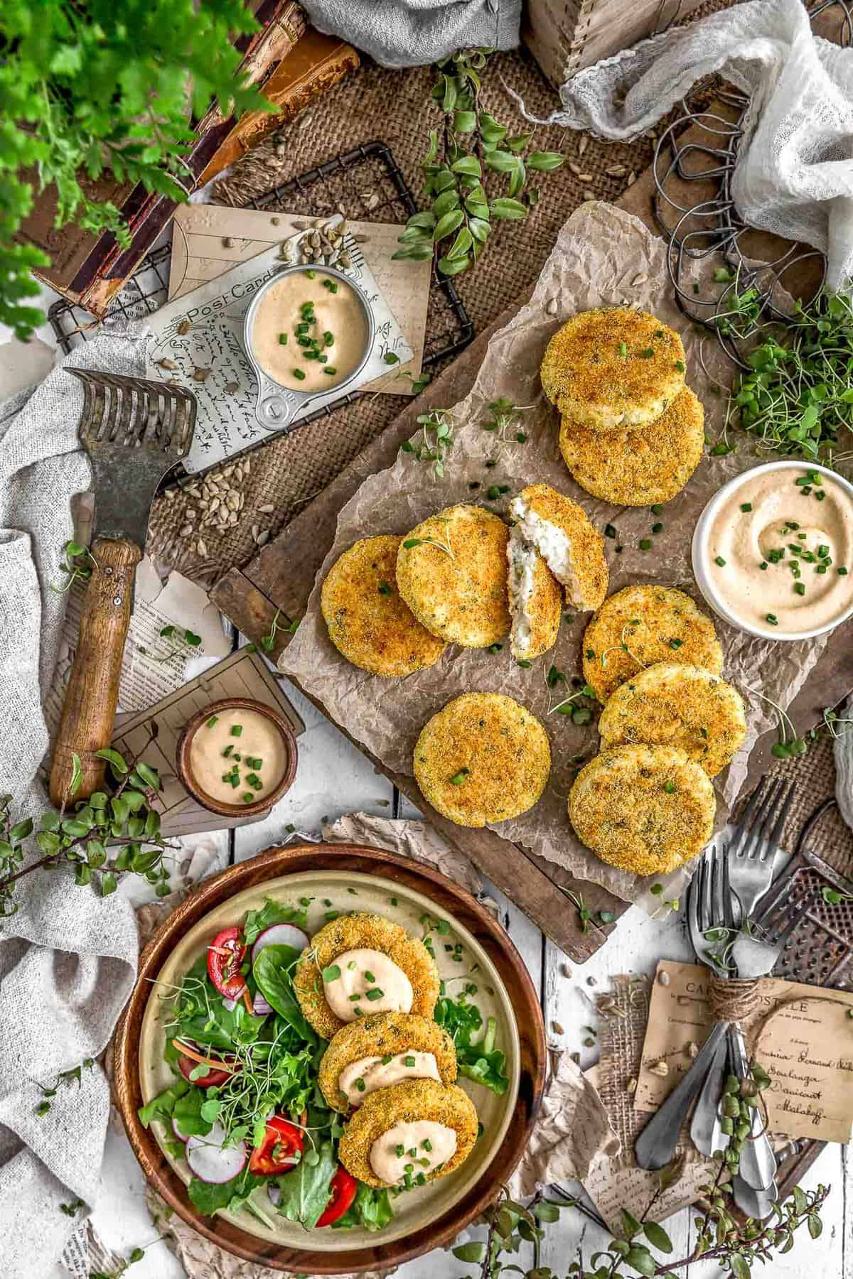 Tablescape of Healthy Mashed Potato Patties with Tangy Garlic Aioli