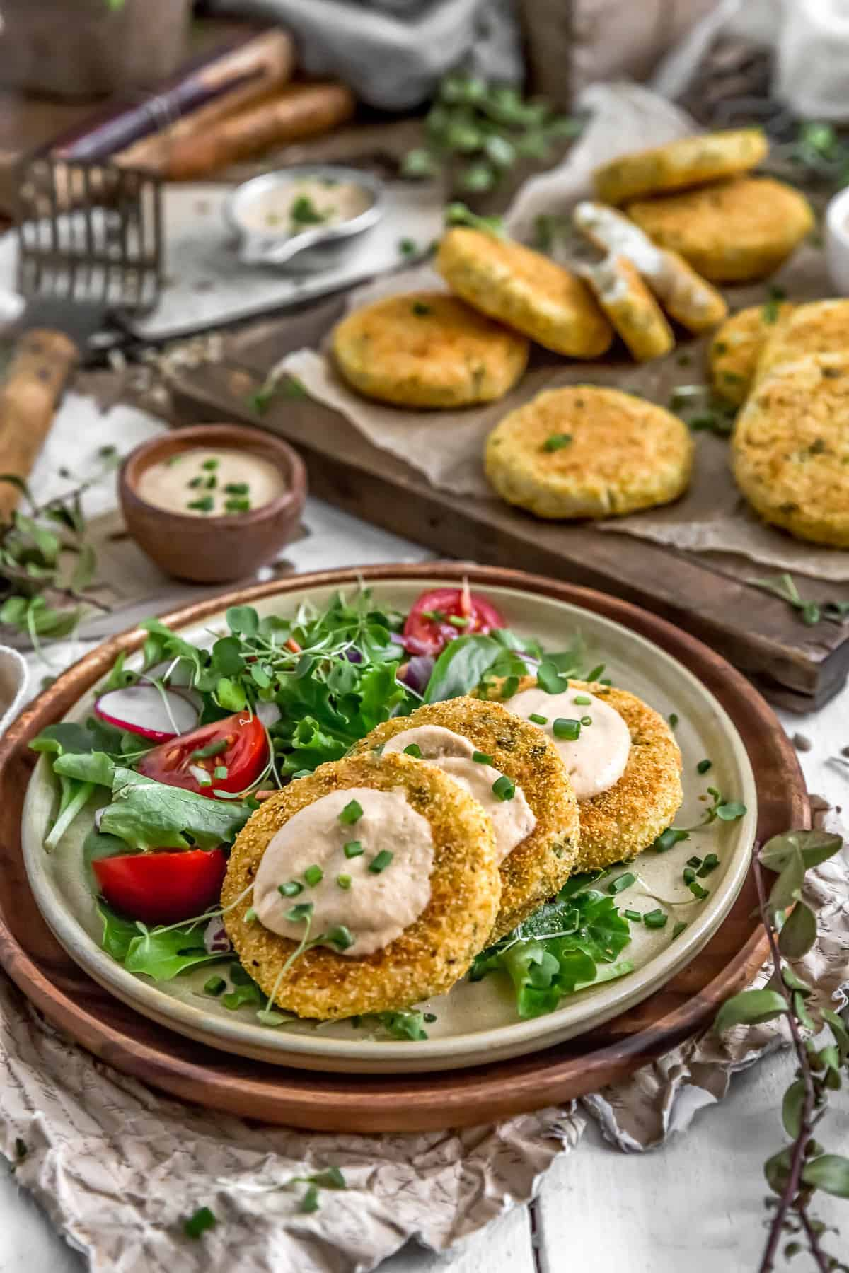 Healthy Mashed Potato Patties with Tangy Garlic Aioli