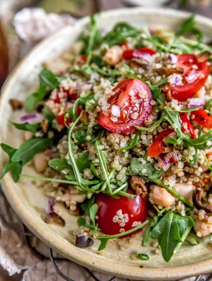 Close up of Mediterranean Quinoa Salad