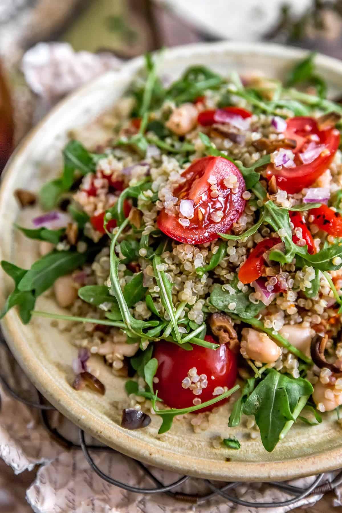 Close up of Mediterranean Quinoa Salad