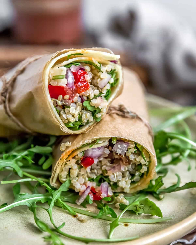 Mediterranean Quinoa Salad in a wrap