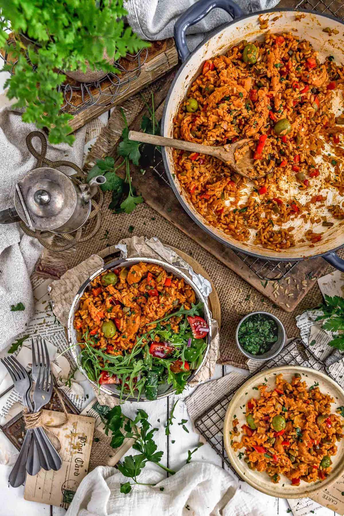 Tablescape of Vegan Arroz on Pollo