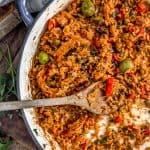Skillet with Vegan Arroz on Pollo