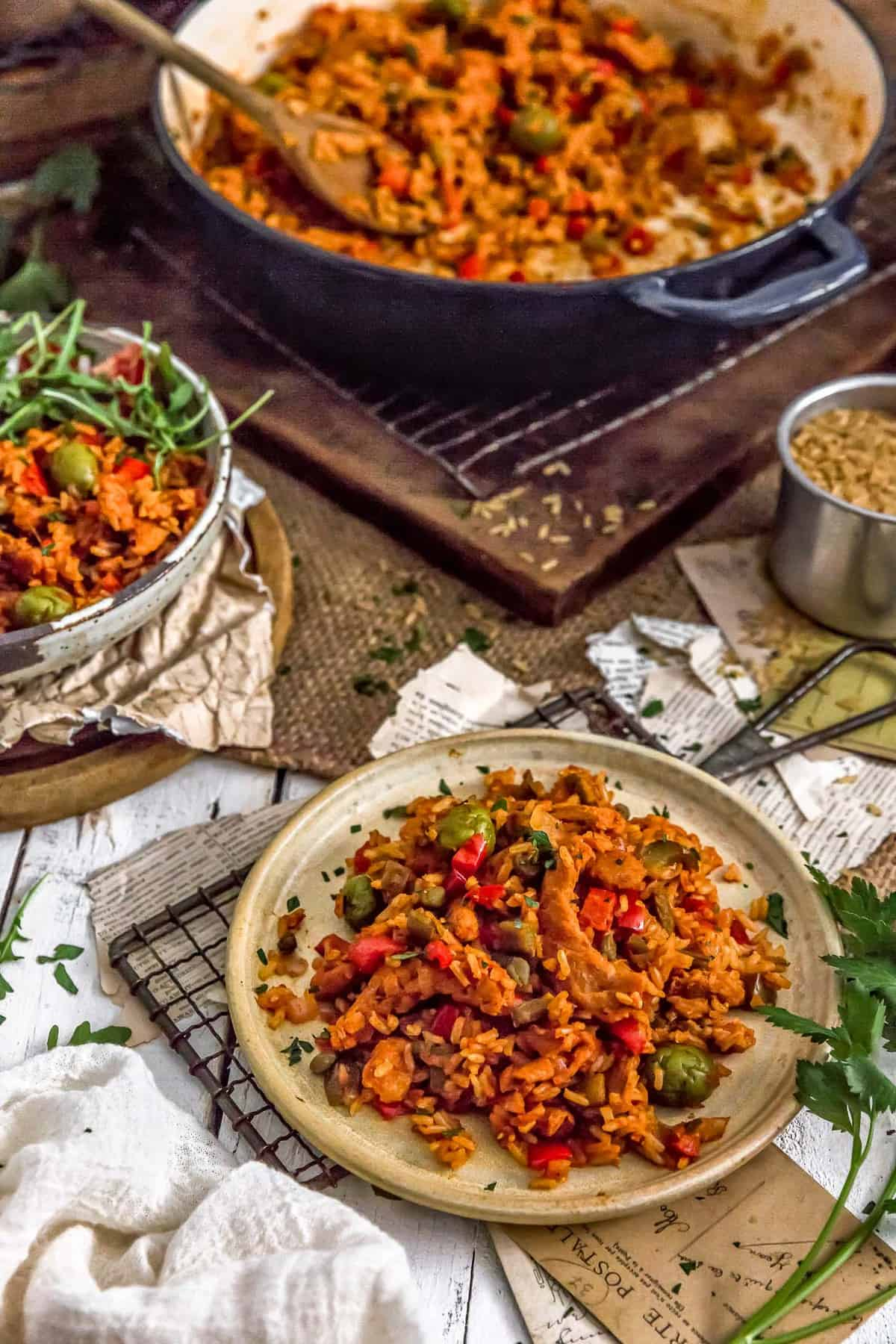 Tablescape with Vegan Arroz on Pollo