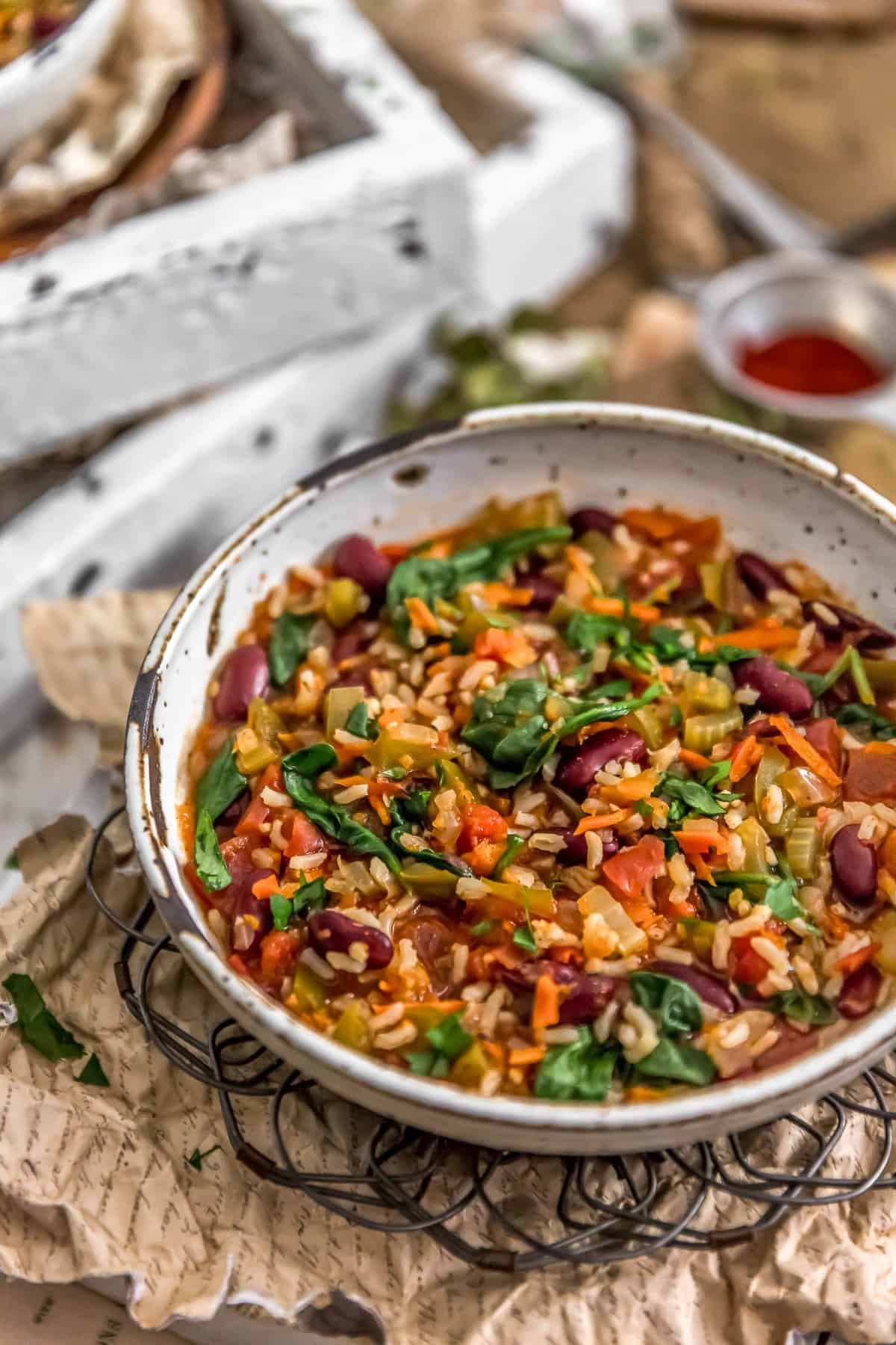 Side View of Healthy Vegan Jambalaya