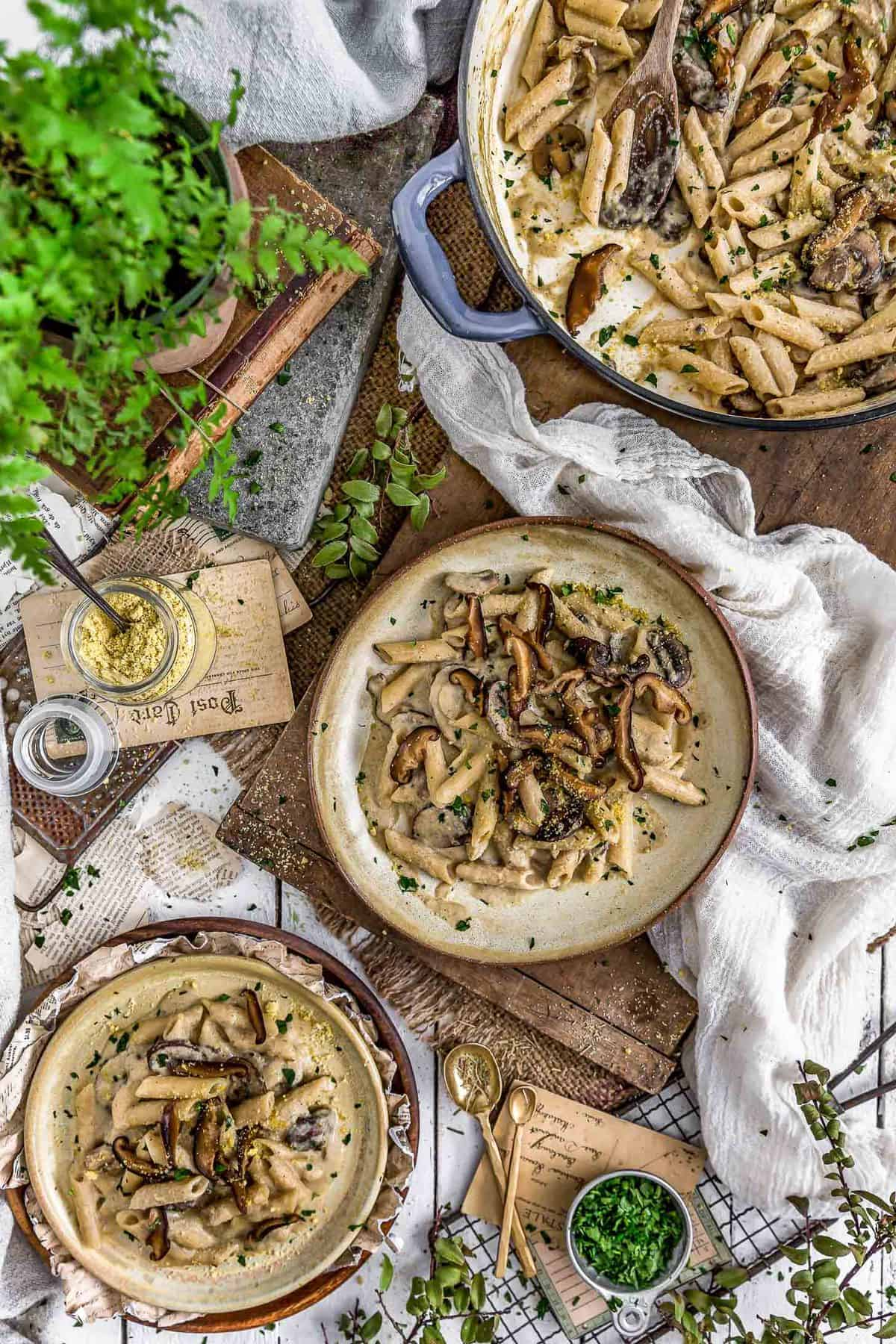 Tablescape of Creamy Herb Mushroom Pasta