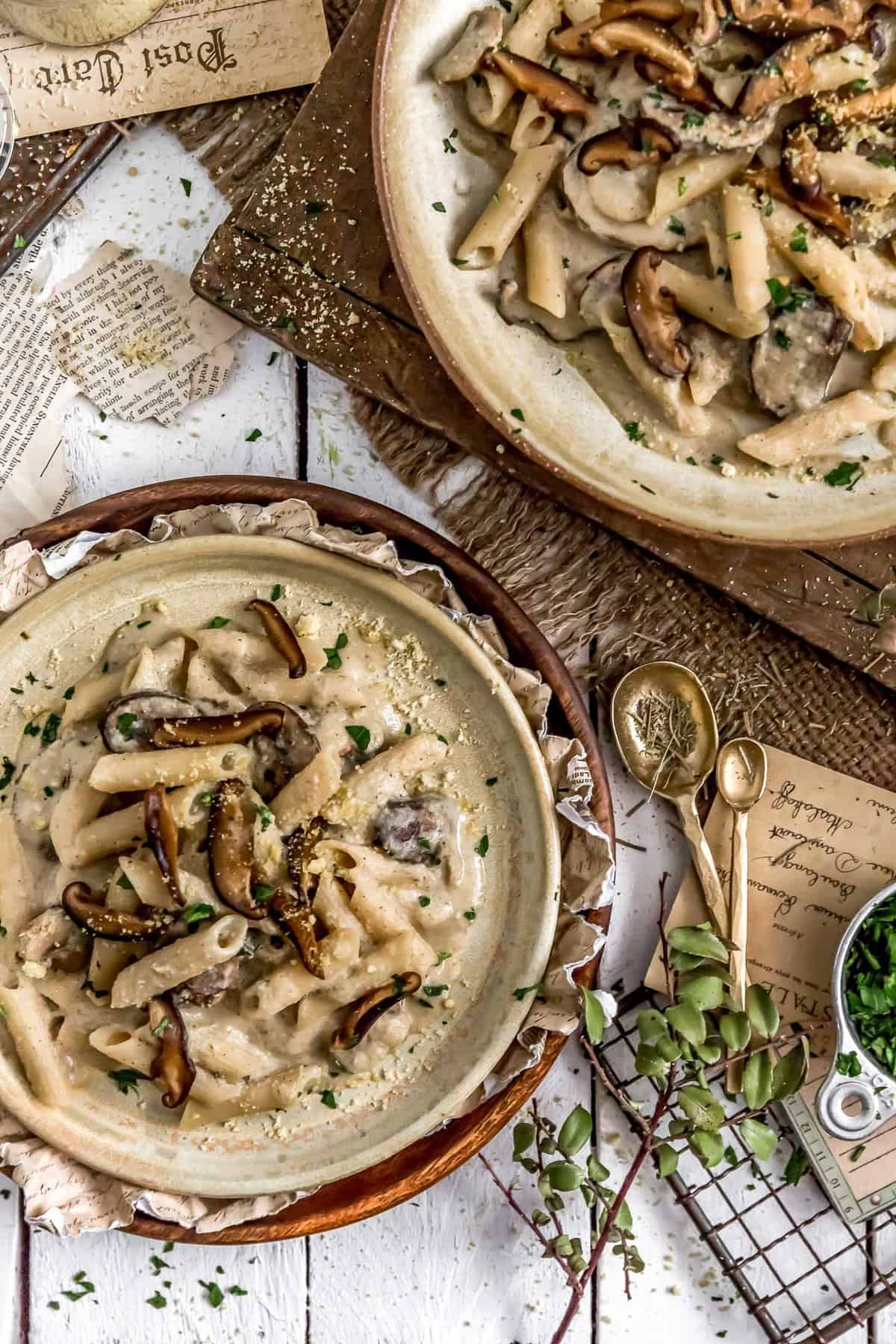 Plates of Creamy Herb Mushroom Pasta