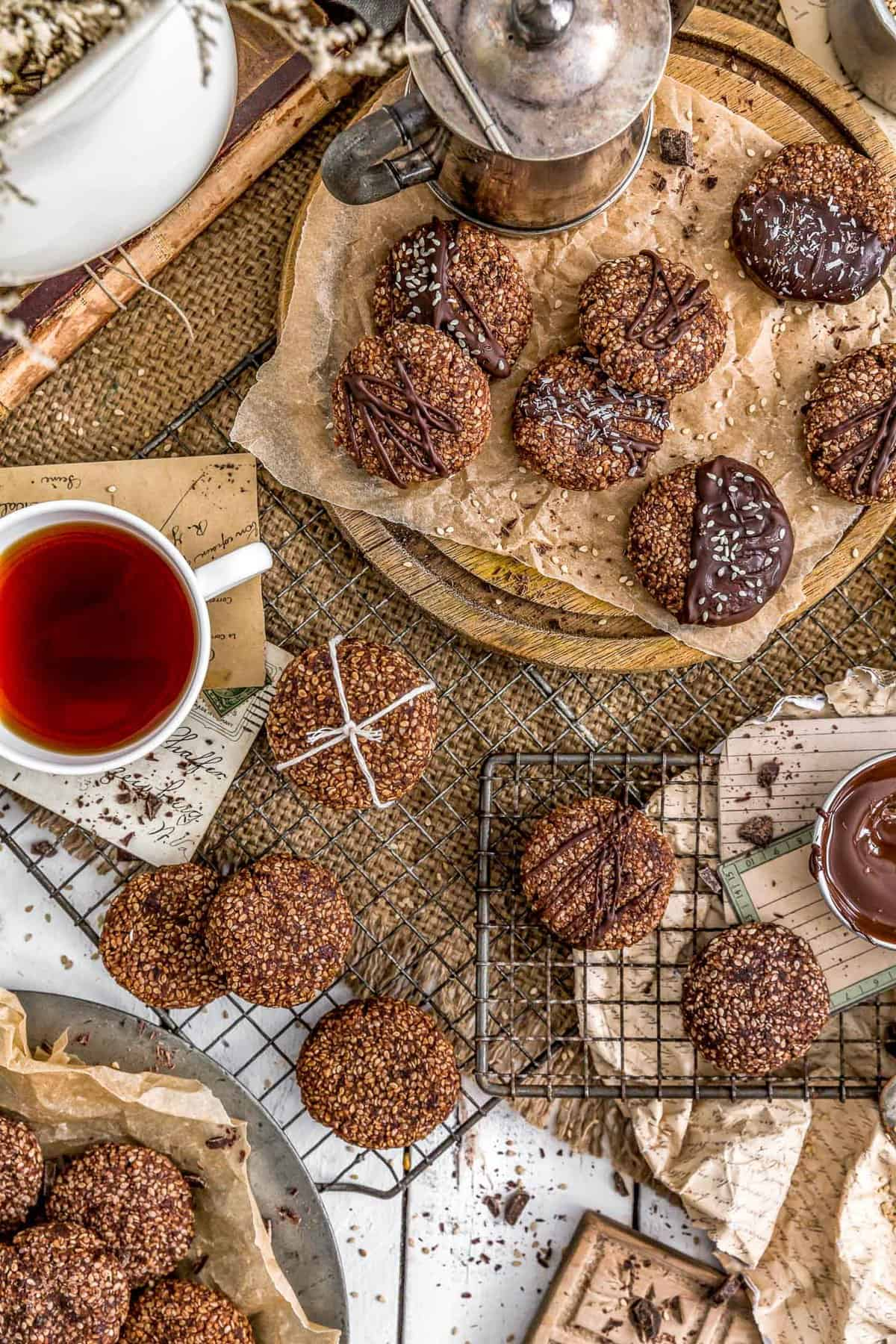 Tablescape of Healthy Chocolate Sesame Cookies