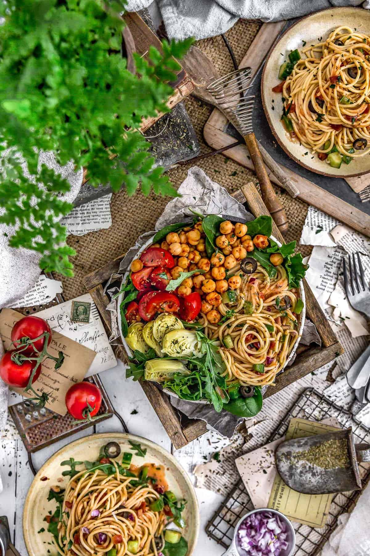 Tablescape of Healthy Italian Spaghetti Salad