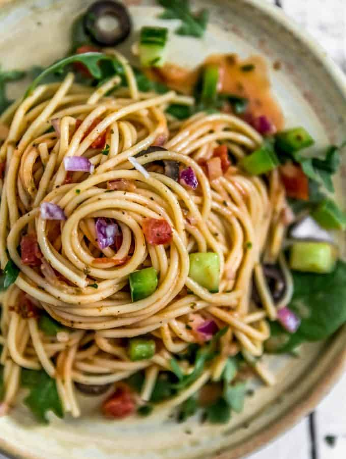 Plate of Healthy Italian Spaghetti Salad