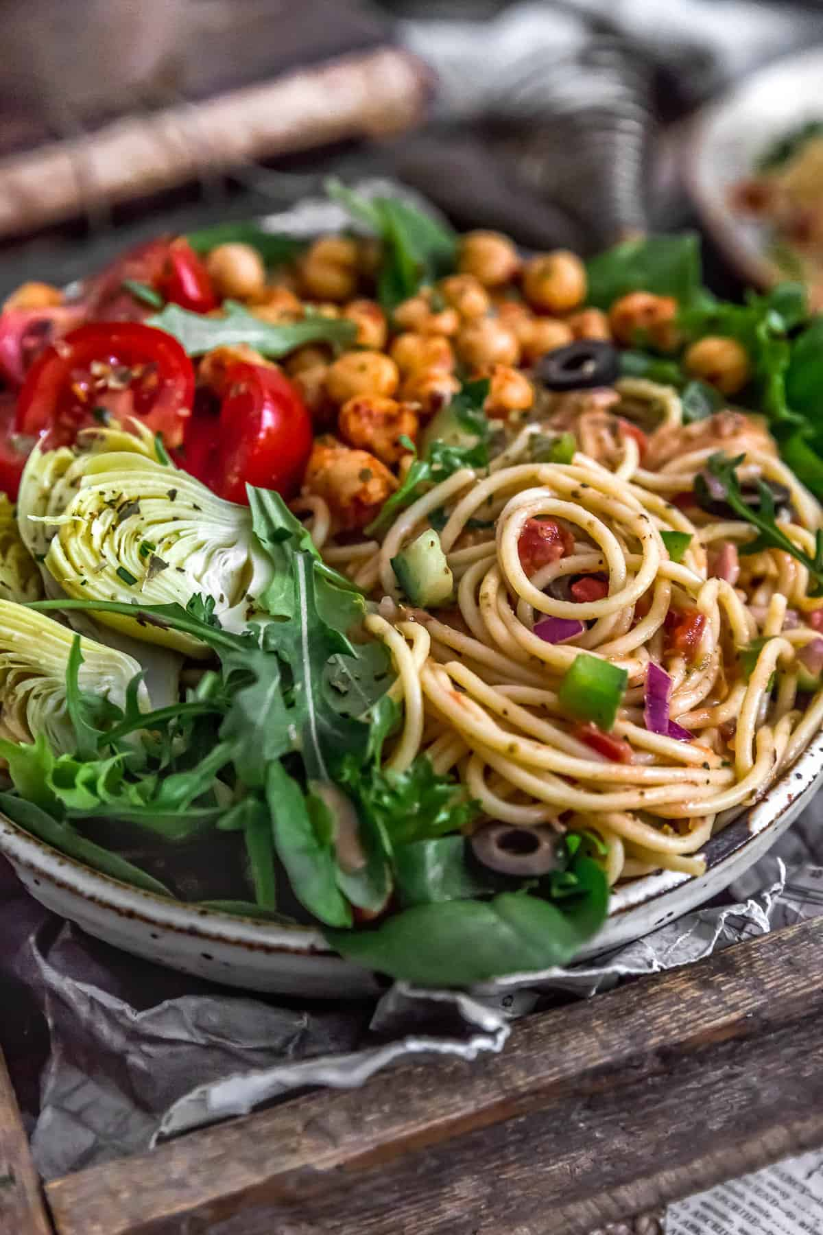 Veggie bowl with Healthy Italian Spaghetti Salad
