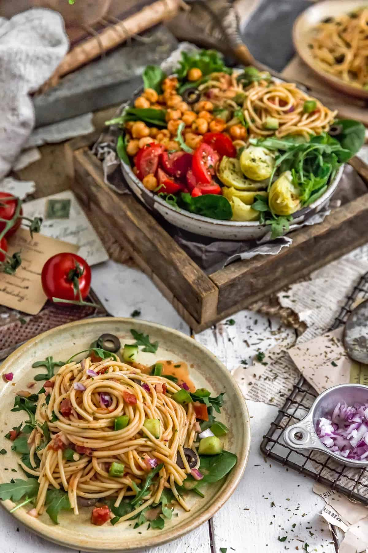 Healthy Italian Spaghetti Salad in three bowls