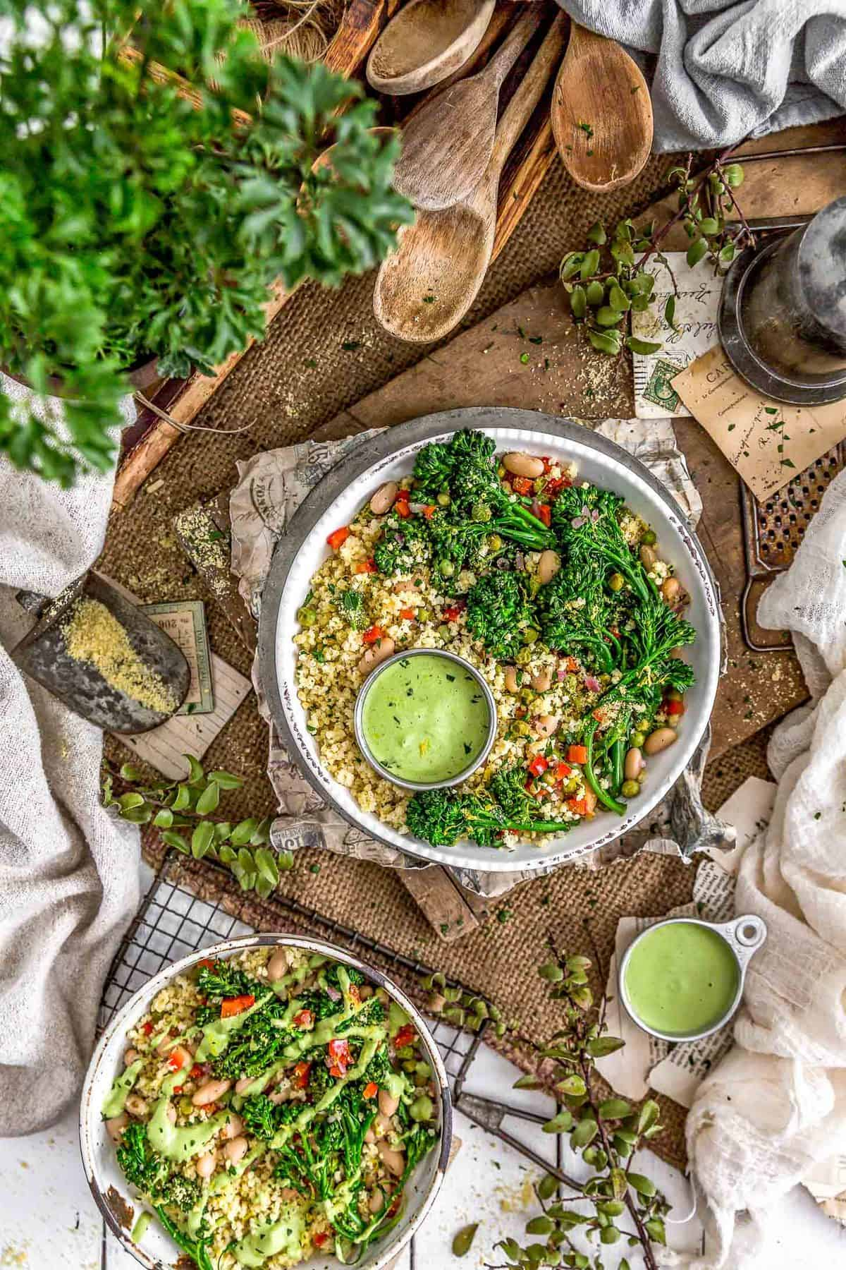 Tablescape of Italian Broccolini Millet Bowl with Lemony Parsley Sauce