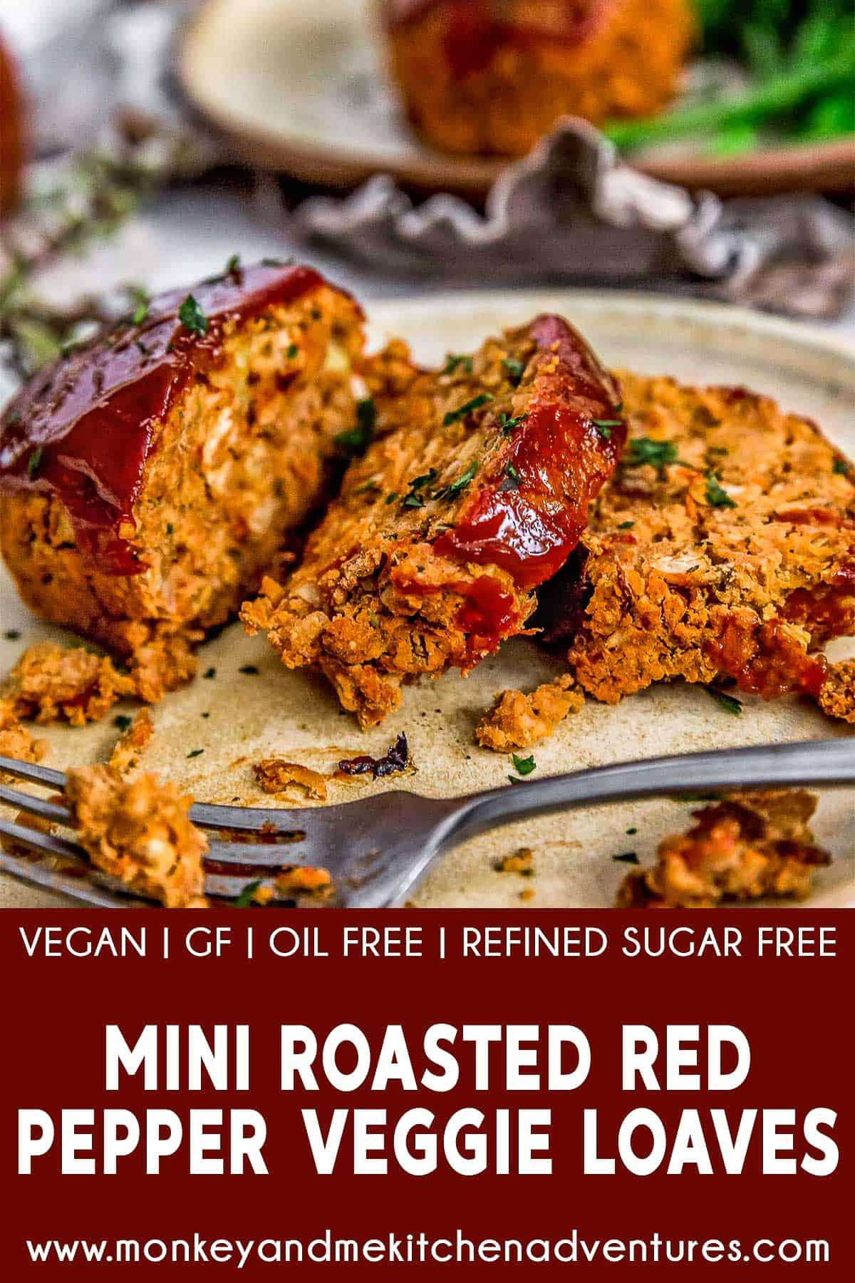 Mini Roasted Red Pepper Veggie Loaves with text description