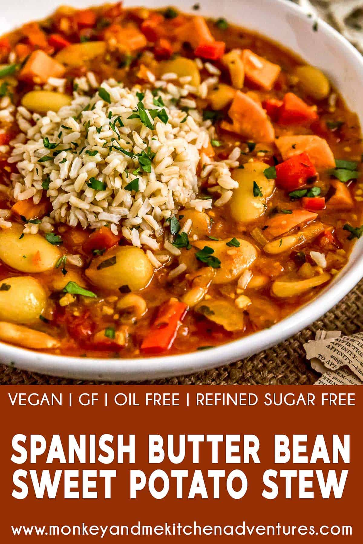 Spanish Butter Bean Sweet Potato Stew with text description