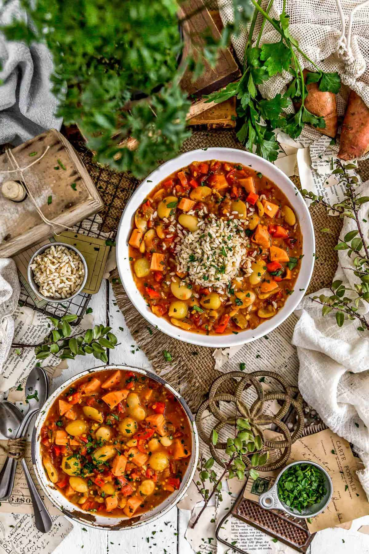 Tablescape of Spanish Butter Bean Sweet Potato Stew