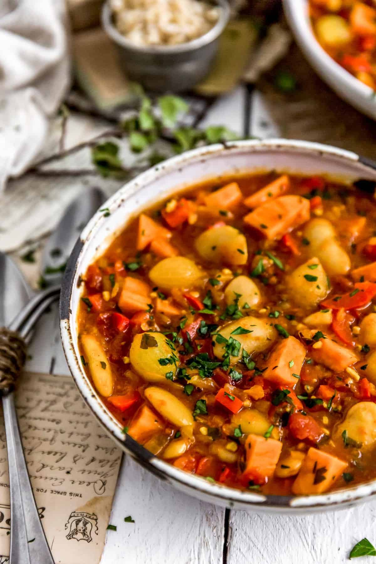 Bowl of Spanish Butter Bean Sweet Potato Stew