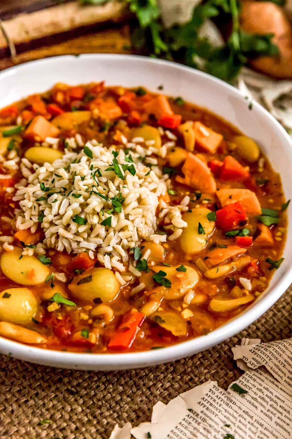 Spanish Butter Bean Sweet Potato Stew with brown rice