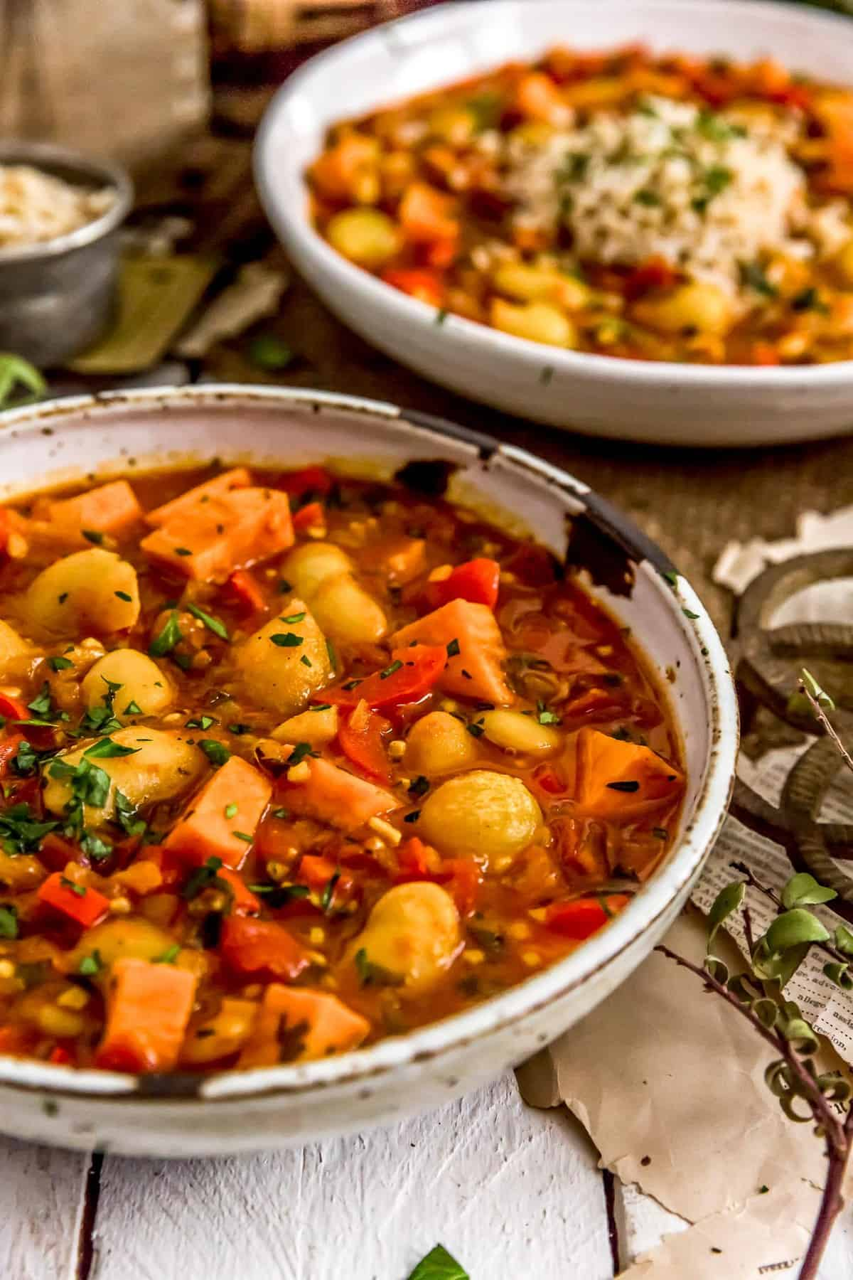 Two bowls of Spanish Butter Bean Sweet Potato Stew