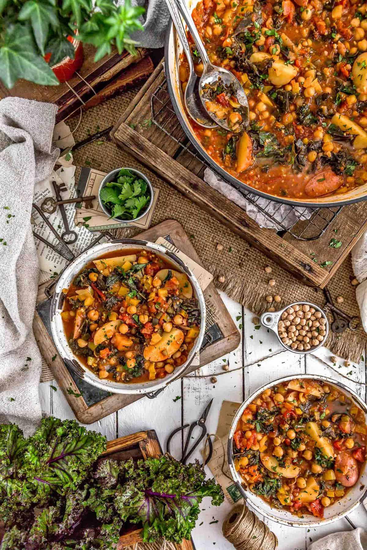 Tablescape of Spiced Kale Potato Stew