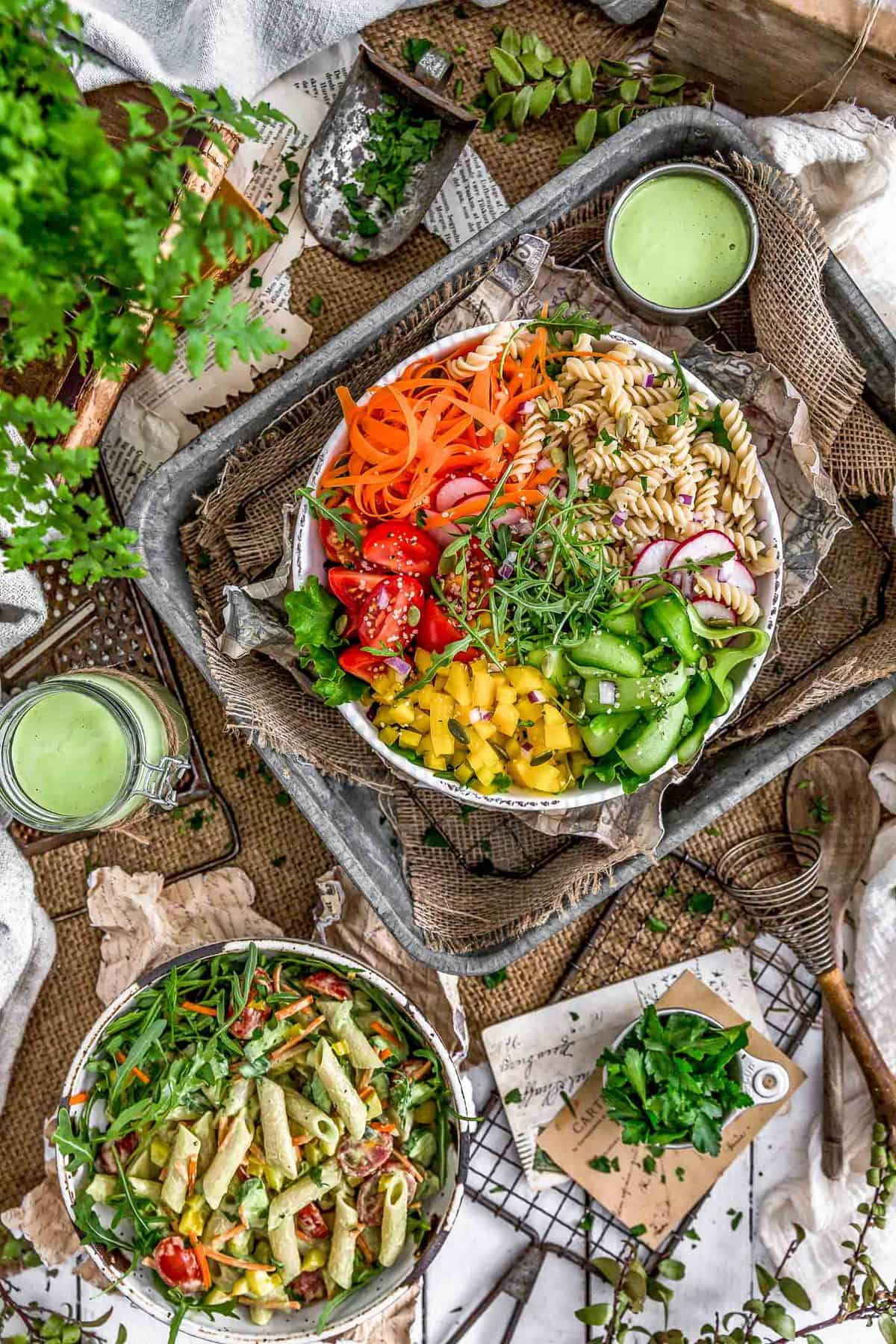 Tablescape of Vegan Green Goddess Dressing and salad