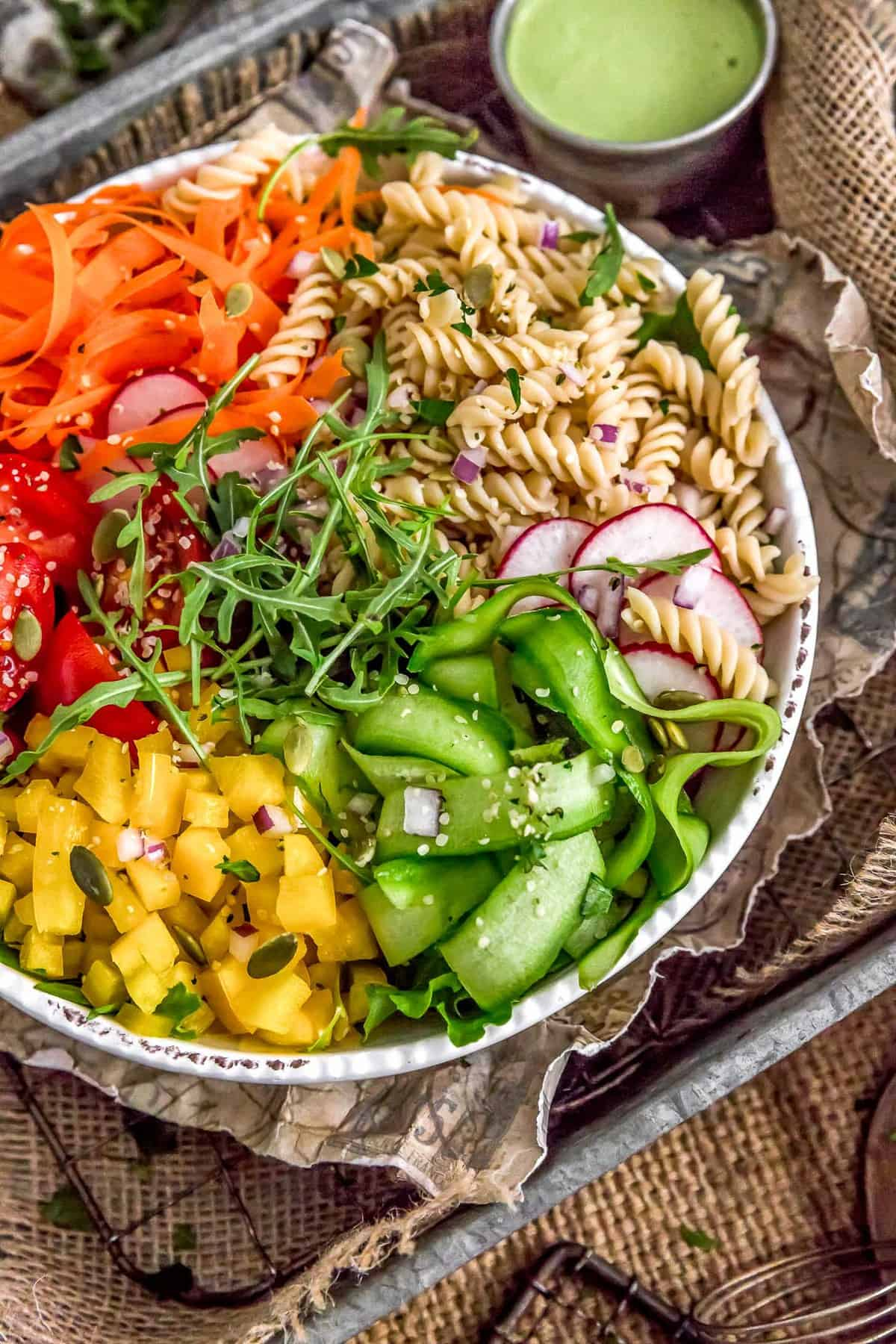 Veggie bowl with a side of Vegan Green Goddess Dressing