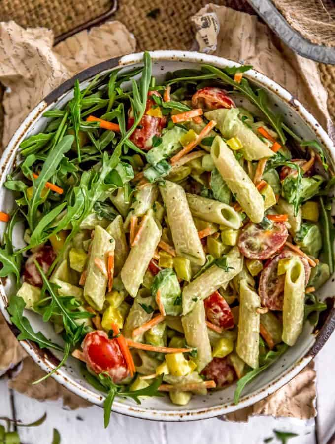 Bowl of Vegan Green Goddess Pasta Salad