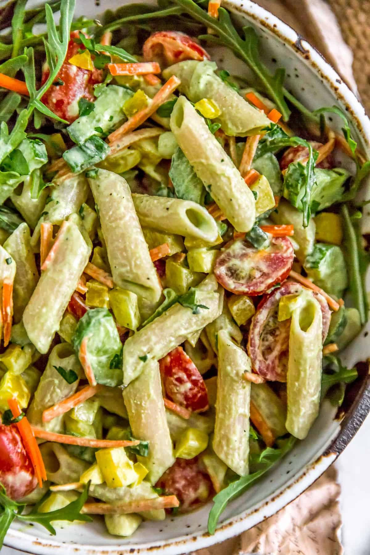 Close up of Vegan Green Goddess Pasta Salad