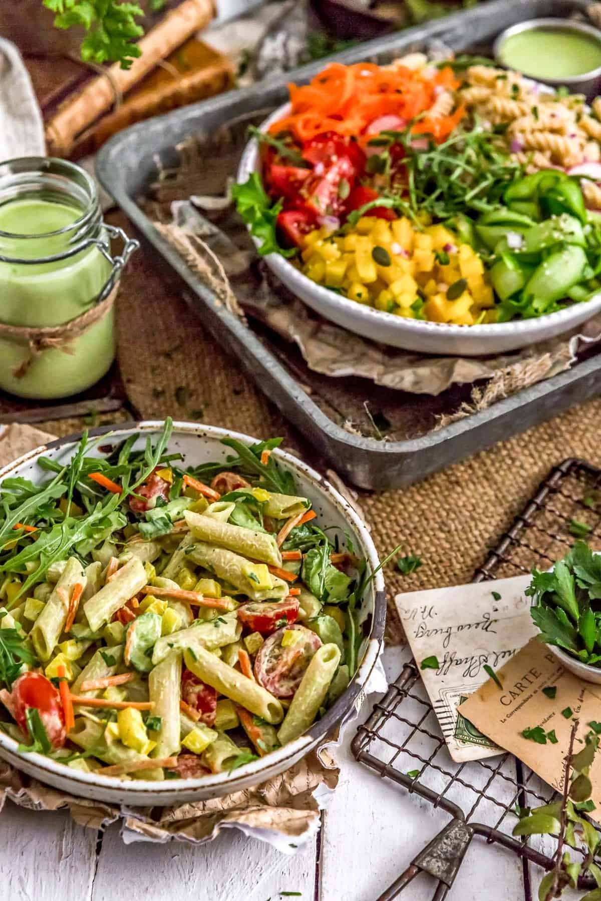 Tablescape of Vegan Green Goddess Pasta Salad