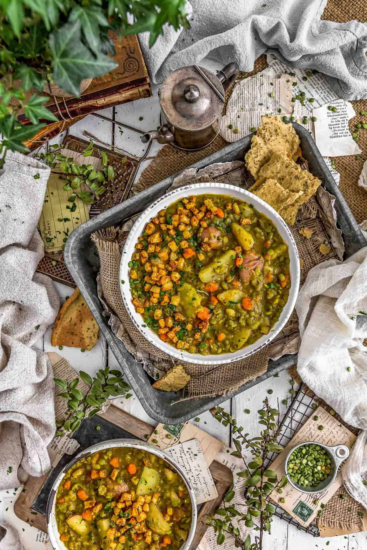 Tablescape of Vegan Split Pea Potato Soup