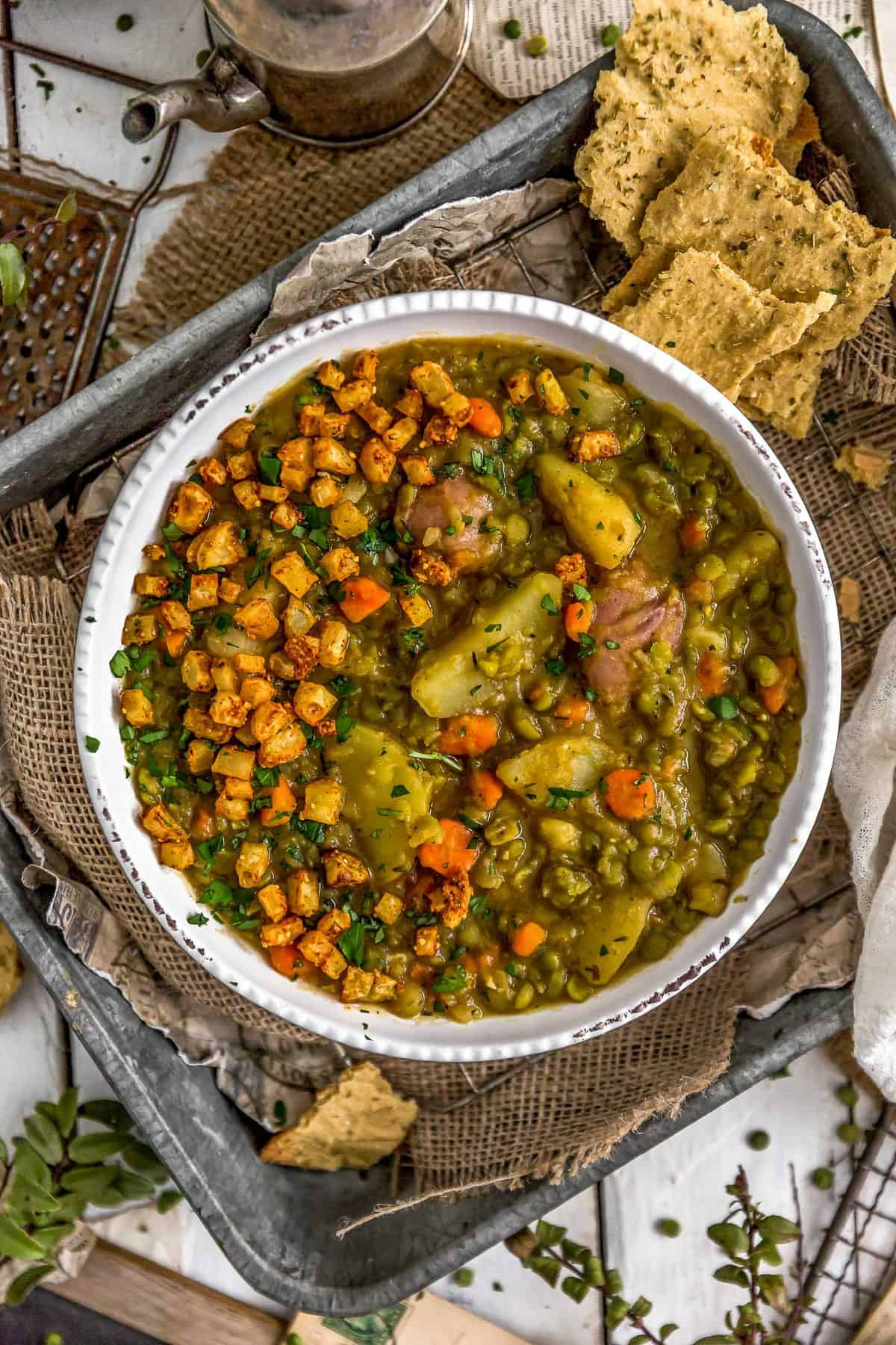 Bowl of Vegan Split Pea Potato Soup
