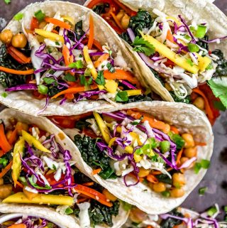 Close up of Asian Rainbow Chickpea Tacos
