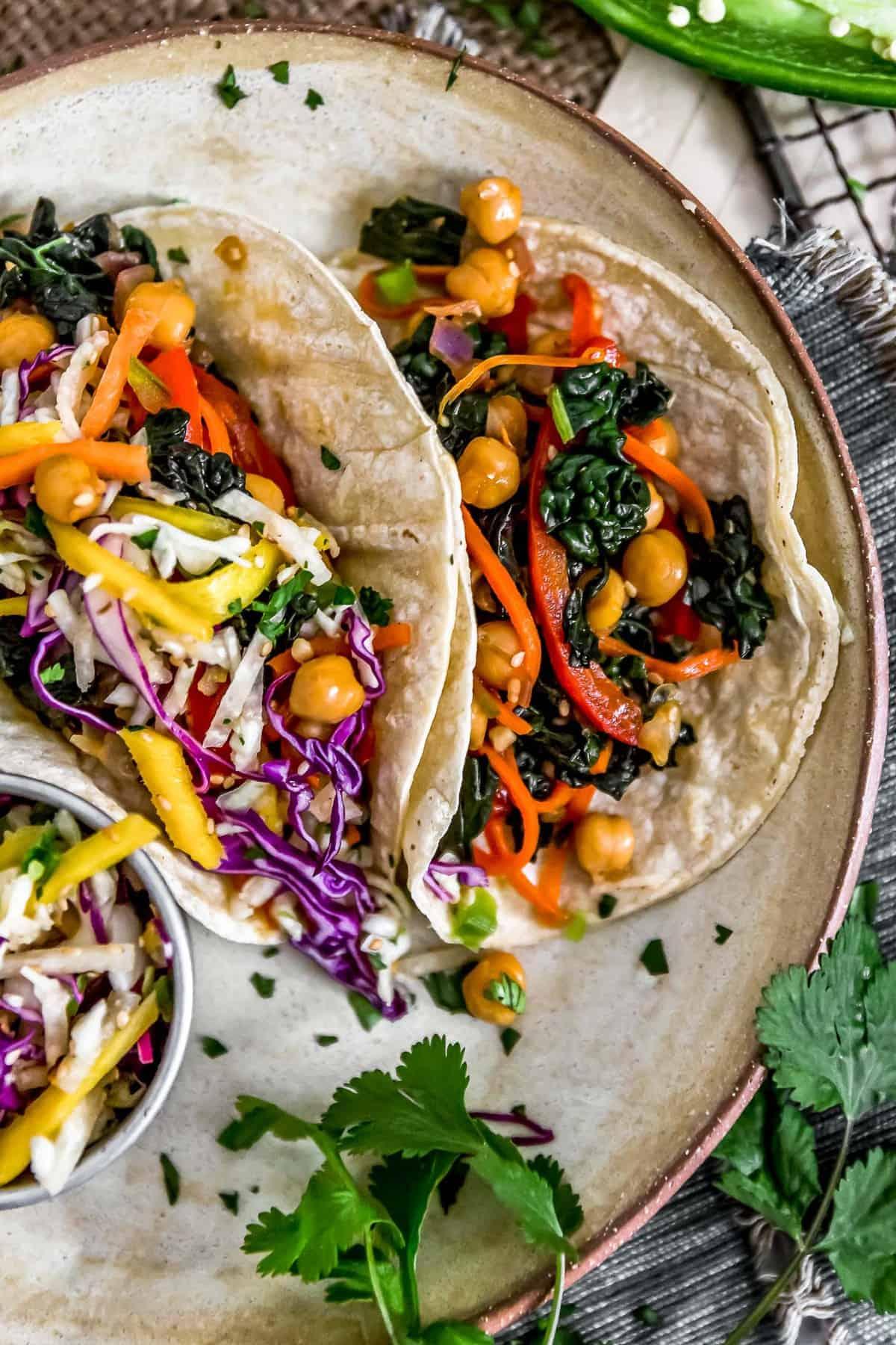 Asian Rainbow Chickpea Tacos with slaw