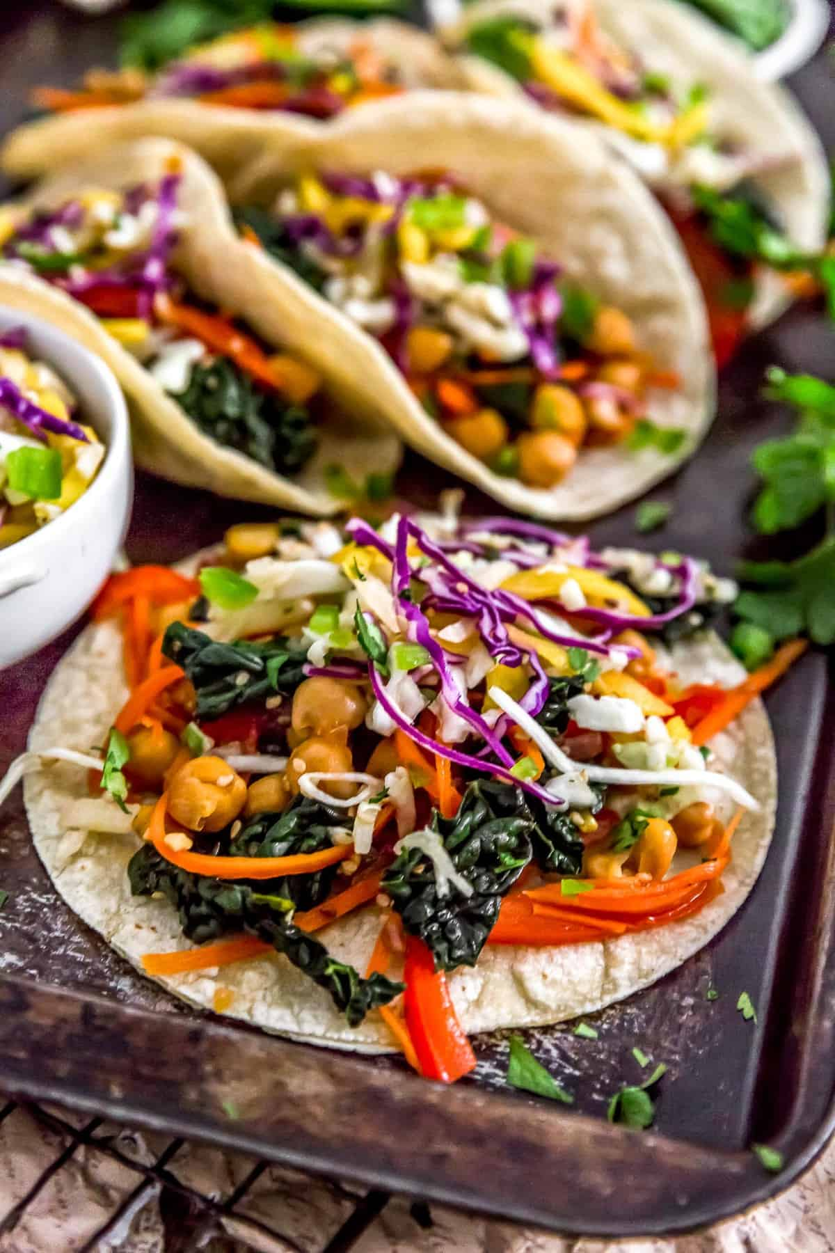 Asian Rainbow Chickpea Tacos