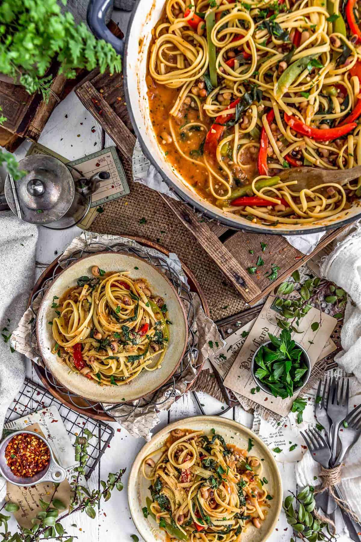 Tablescape of Cajun Pasta and Peppers