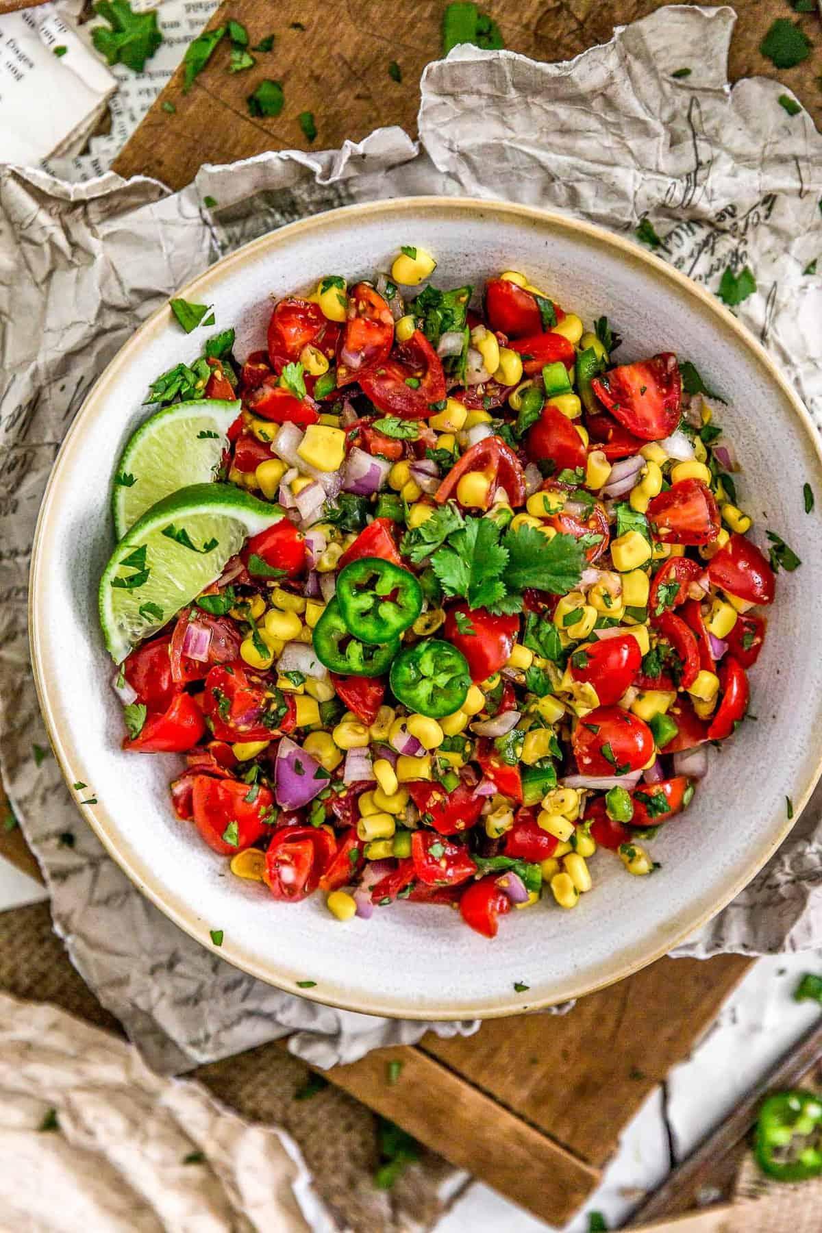 Serving bowl of Cilantro Lime Corn Salad