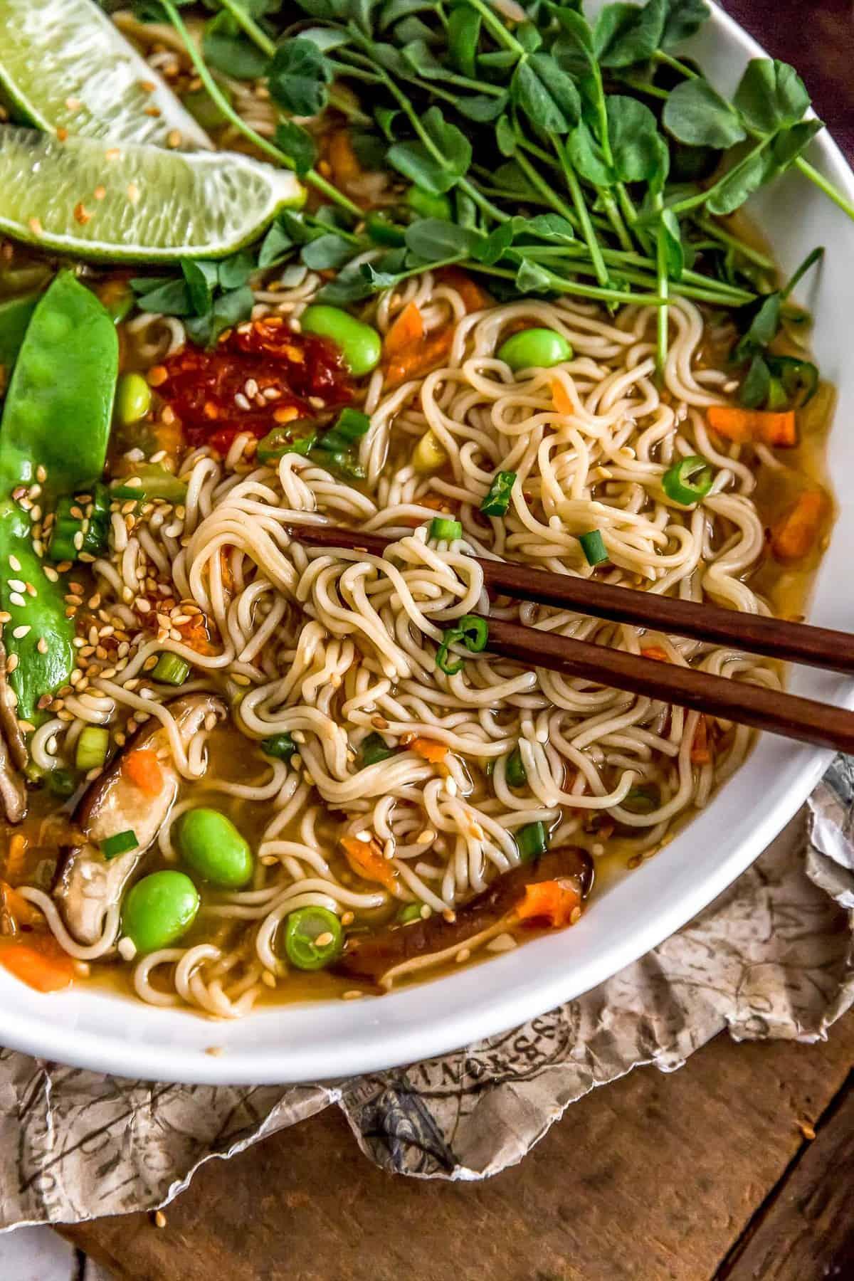 Easy Vegan Ramen with chopsticks