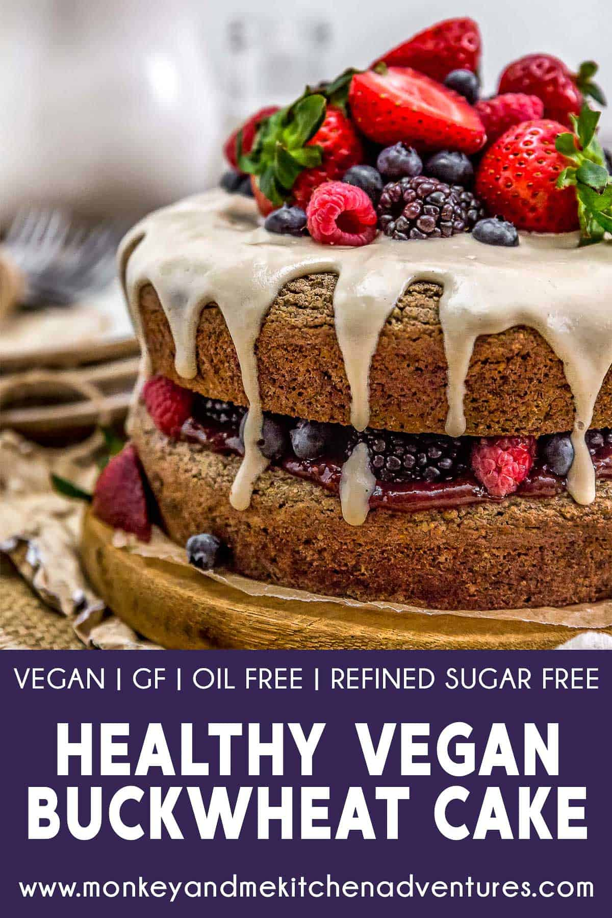 Healthy Vegan Buckwheat Cake with text description