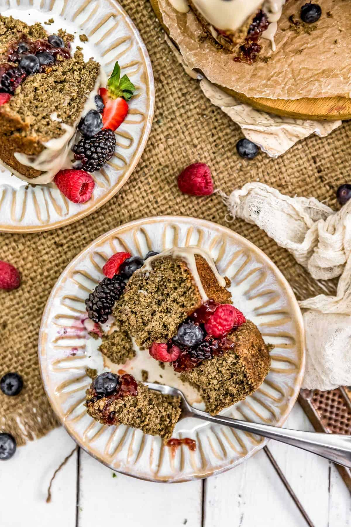 Two slices of Healthy Vegan Buckwheat Cake