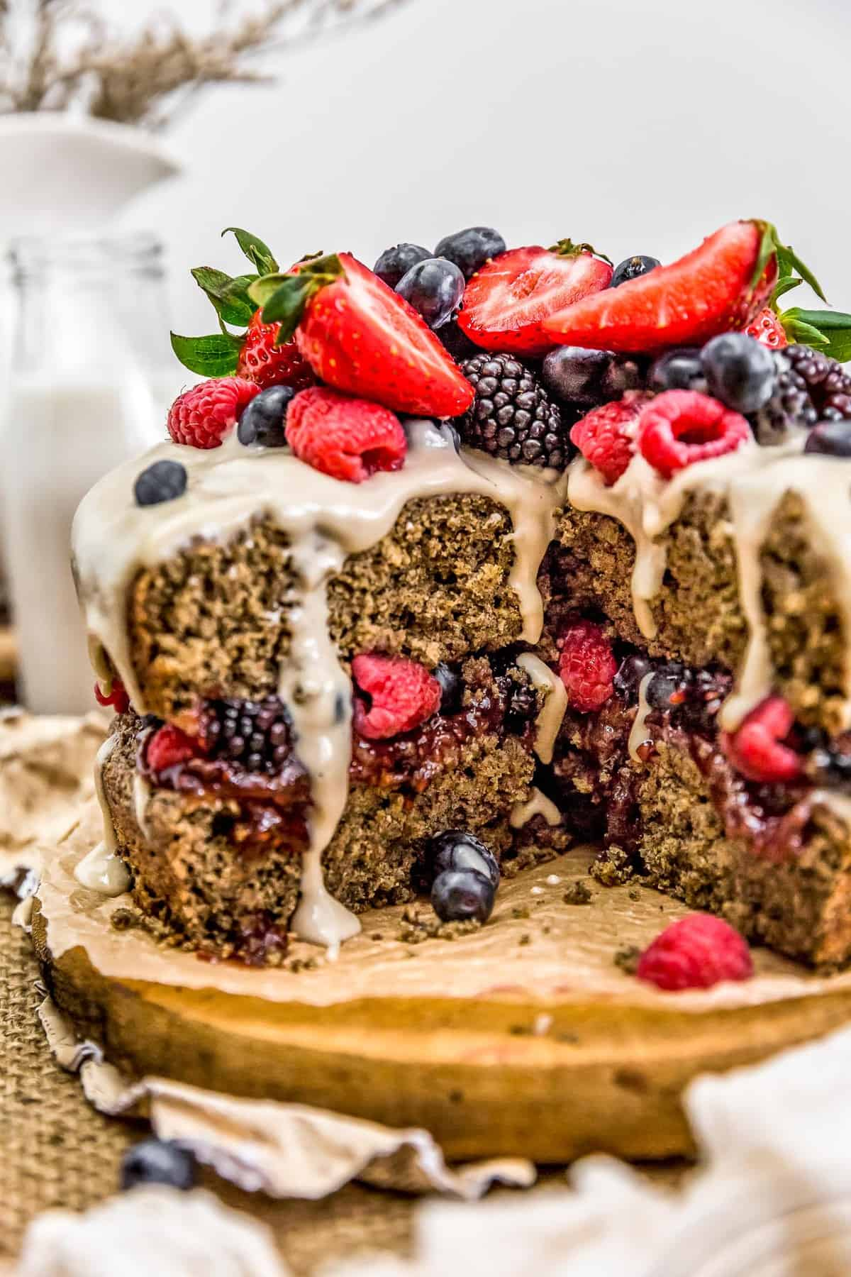 Healthy Vegan Buckwheat Cake with slices cut out