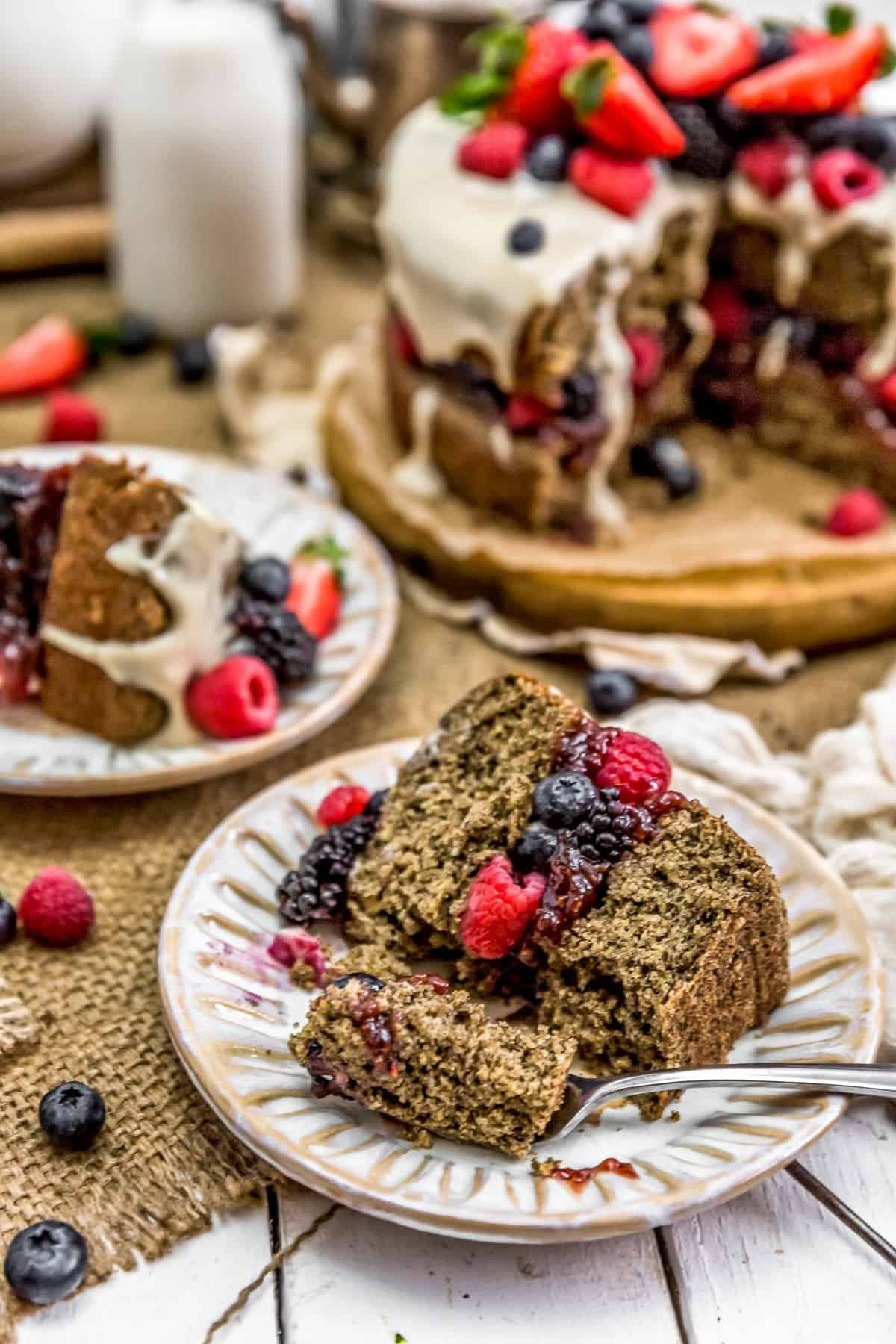 Fork with Healthy Vegan Buckwheat Cake